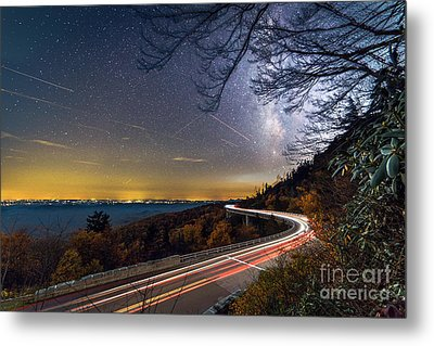 The Linn Cove Viaduct Milky Way Light Trails Metal Print