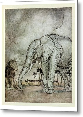 The Lion, Jupiter And The Elephant, Illustration From Aesops Fables, Published By Heinemann, 1912 Metal Print by Arthur Rackham