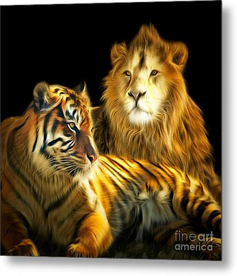The Lions Den 201502113-2brun Square Metal Print by Wingsdomain Art and Photography