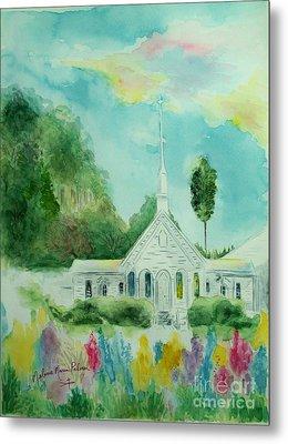 The Little Country Church Metal Print by Melanie Palmer