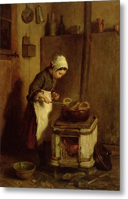 The Little Housekeeper Metal Print by Pierre Edouard Frere