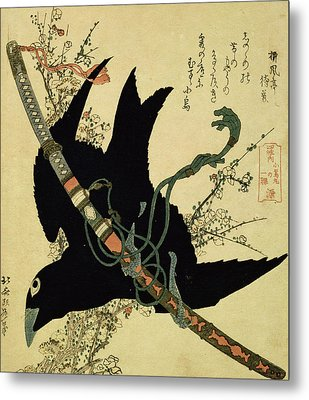 The Little Raven With The Minamoto Clan Sword Metal Print by Katsushika Hokusai