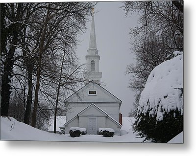 Metal Print featuring the photograph The Little White Church by Dora Sofia Caputo Photographic Art and Design
