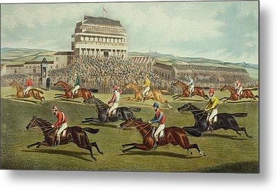 The Liverpool Grand National Steeplechase Coming In Metal Print by Charles Hunt and Son