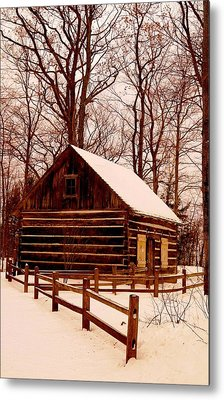 The Log Cabin At Old Mission Point Metal Print