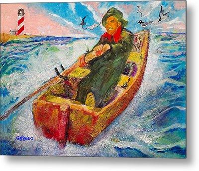 The Lone Boatman Metal Print by Seth Weaver