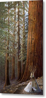 The Lone Tee Pee Redwood Metal Print by Gregory Perillo