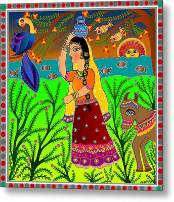 The Lonely Radha-madhubani Style-digital Metal Print by Latha Gokuldas Panicker