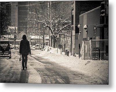 The Lonely Snowy Walk Metal Print by Douglas Adams