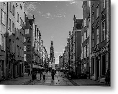 The Long Lane In Gdansk Bw Metal Print by Adam Budziarek