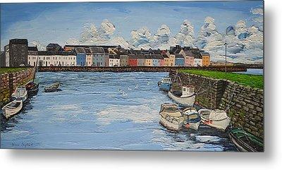 The Long Walk Boats Galway Ireland Metal Print by Diana Shephard