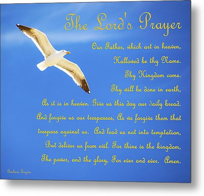 The Lords Prayer Seagull Metal Print by Barbara Snyder