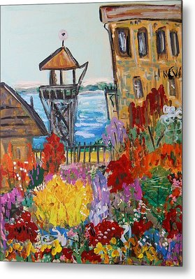 Metal Print featuring the painting The Lost Gardens Of Alcatraz by Mary Carol Williams