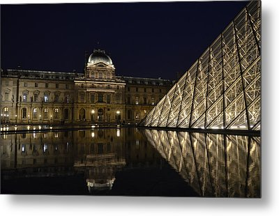 The Louvre Palace And The Pyramid At Night Metal Print by RicardMN Photography