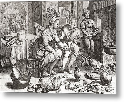 The Loving Couple, After A 15th Century Engraving By J. Matham. From Illustrierte Sittengeschichte Metal Print