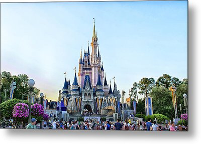 The Magic Kingdom Castle On A Beautiful Summer Day Horizontal Metal Print by Thomas Woolworth