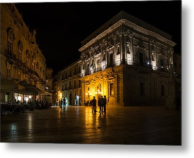 Metal Print featuring the photograph The Magical Duomo Square In Ortygia Syracuse Sicily by Georgia Mizuleva