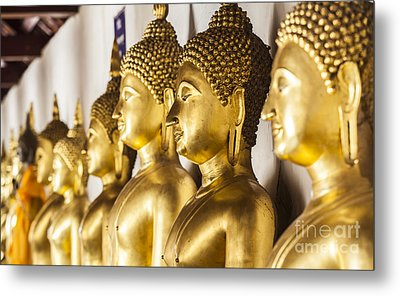 The Main Hall Of Wat Thardtong With Golden Buddha Statue Metal Print by Anek Suwannaphoom