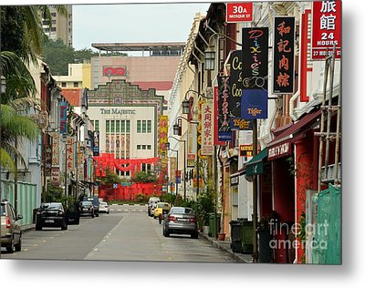Metal Print featuring the photograph The Majestic Theater Chinatown Singapore by Imran Ahmed