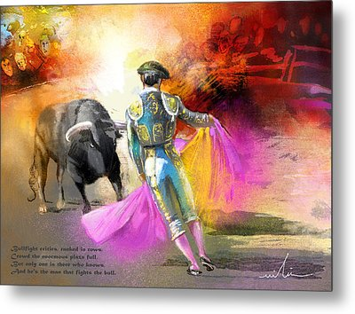 The Man Who Fights The Bull Metal Print by Miki De Goodaboom