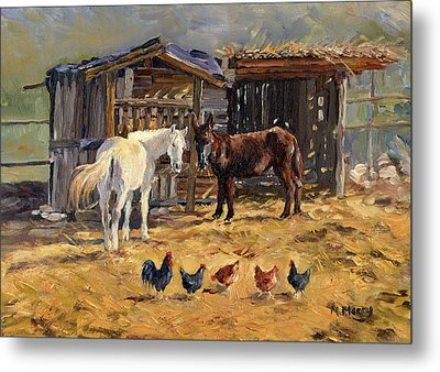 The Manger Metal Print by Margaret Merry