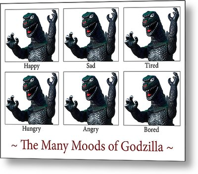 The Many Moods Of Godzilla Metal Print by William Patrick