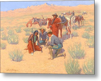 The Map In The Sand, 1905  Metal Print by Frederic Remington