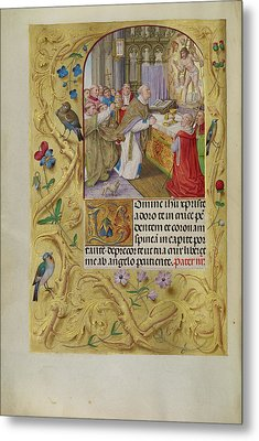 The Mass Of Saint Gregory Master Of The Lübeck Bible Bruges Metal Print