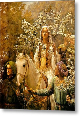 The Maying Of Queen Guinevere Metal Print by John Collier