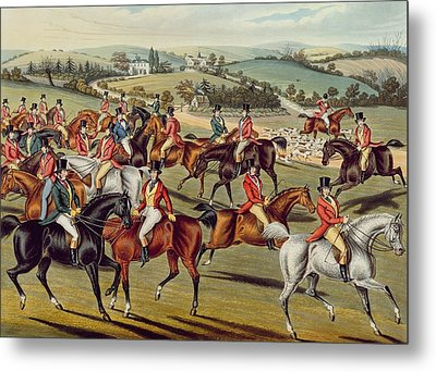 'the Meet' Plate I From 'fox Hunting' Metal Print by Charles Senior Hunt