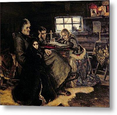 The Menshikov Family In Beriozovo, 1883 Oil On Canvas Metal Print by Vasilij Ivanovic Surikov