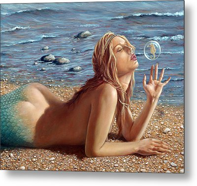 The Mermaids Friend Metal Print