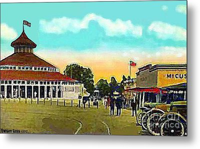 The Merry-go-round At Crescent Park In Providence Ri In 1910 Metal Print