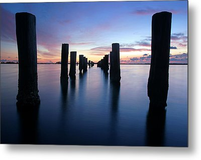The Missing Pier At Sunset Metal Print