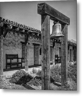 The Mission Bell B/w Metal Print by Hanny Heim