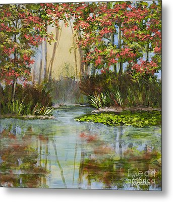 The Mist Beyond With Gold Leaf By Vic Mastis Metal Print by Vic  Mastis