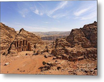 The Monastery And Landscape At Petra In Jordan Metal Print by Robert Preston