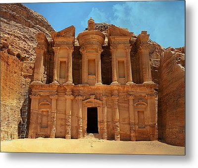 The Monastery At Petra Metal Print by Stephen Stookey