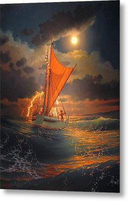 The Mo'okiha O Pi'ilani Sailing In Front Of The Storm In The Moonlight Metal Print by Loren Adams