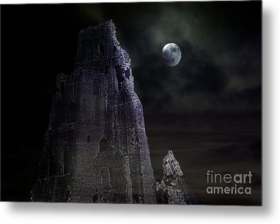 The Moonshine On The Castle Metal Print by Terri Waters