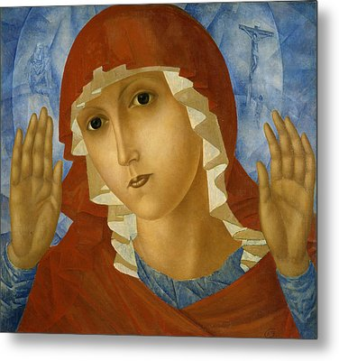 The Mother Of God Of Tenderness Towards Evil Hearts Metal Print by Kuzma Petrov-Vodkin