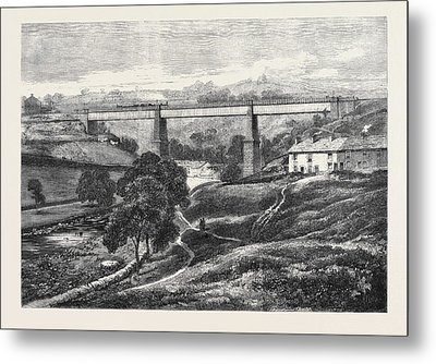 The Mottram Viaduct On The Manchester Sheffield Metal Print by English School