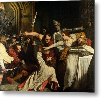 The Murder Of Rizzio, 1787 Oil On Canvas Metal Print