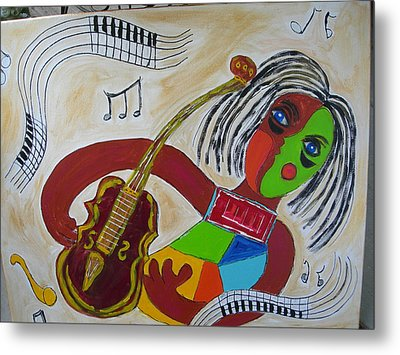 Metal Print featuring the painting The Music Practitioner by Sharyn Winters