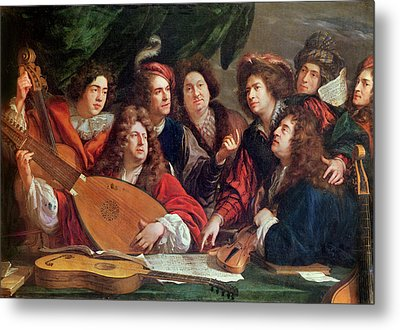 The Musical Society, 1688 Oil On Canvas Metal Print