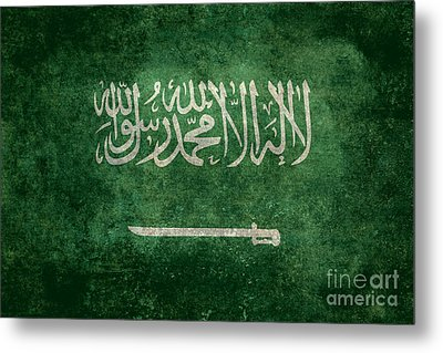 The National Flag Of  Kingdom Of Saudi Arabia  Vintage Version Metal Print