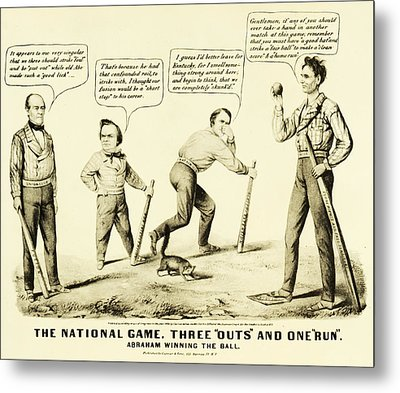 The National Game - Abraham Lincoln Plays Baseball Metal Print