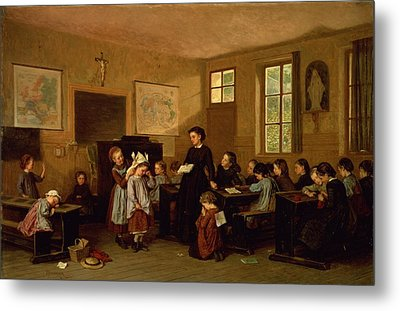 The Naughty School Children Metal Print by Theophile Emmanuel Duverger