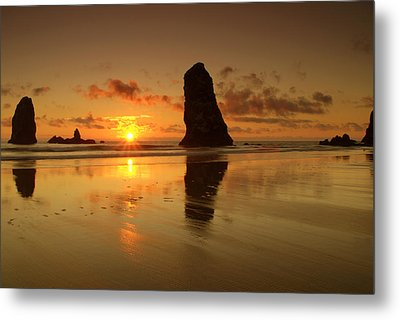 The Needles At Haystack - Cannon Beach Sunset  Metal Print by Brian Harig