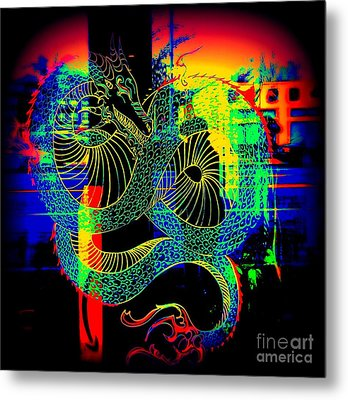 The Neon Dragon Metal Print by Kelly Awad